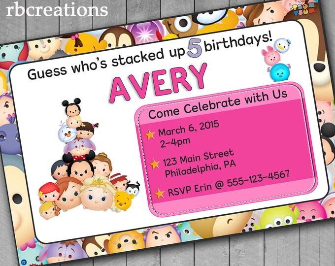 Pink Tsum Tsum Birthday Invitation, Tsum Tsum Party, Tsum Tsum Invitation, Tsum Tsum Printables, Digital Printable Invitations