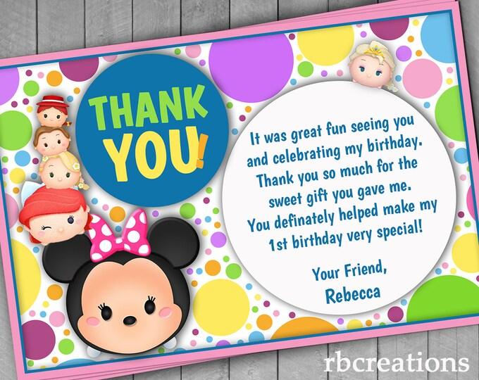 Tsum Tsum Party, Birthday Thank You Notes, Tsum Tsum Birthday, Tsum Tsum Printables - Digital Printable