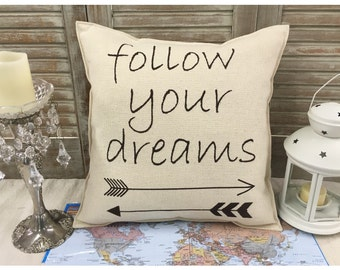 "Decorative Pillow with ""follow your dreams"" and arrows on the front COMPLETE pillow. Aztec arrow pillow,  arrow pillow, dreams, home decor"