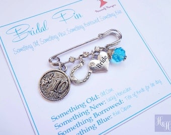 Bridal Charm Pin Something Old, New, Borrowed and Blue Lucky Charm