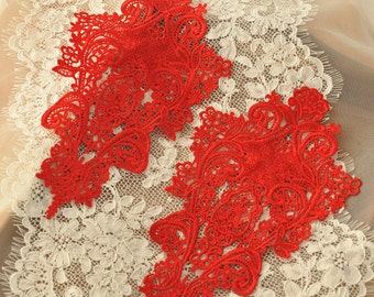 red venice lace applique pair  for bridals, wedding, gowns, costumes one pair