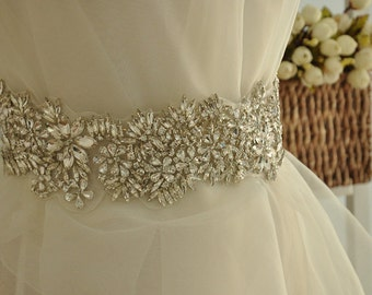 Full Waist Rhinestone Applique Bridal, Crystal Beaded Applique for Bridal Sash Wedding Belt Rhinestone Trims