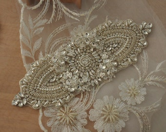 3D Rhinestone Applique for Bridal Sash, Wedding Belt , Birdal Headpiece