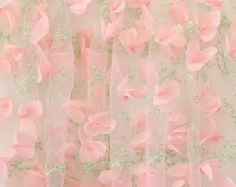 Organza lace fabric with pink 3D chiffon rosette flowers appliques, fabric by yard