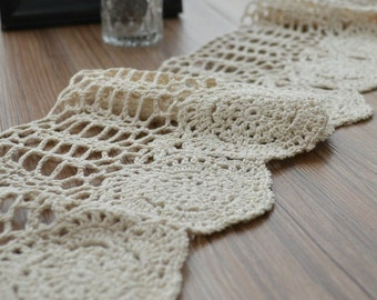 "Ecru Crochet Lace Trim 1 Yard 6"" Wide"
