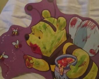 winnie the pooh zombie halloween decorations creepy cute blood cartoon painted