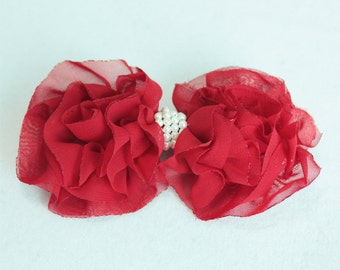 1 pc - red 80mm ELEGANCE chiffon bow for hair hand, dress  [BCH-109]