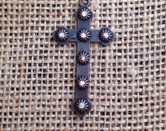 6 Pieces Cross charms, Rhinestone cross, 45x35, Cross charms, Antique Copper cross with AB rhinestones bling cross 22-4-R