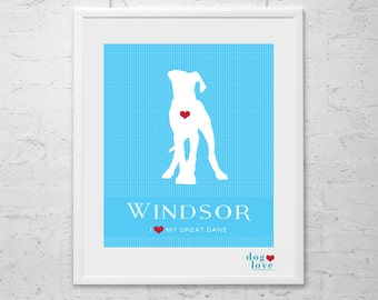 Great Dane Dog Silhouette - Personalized 8x10 Dog Art Print