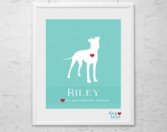 Manchester Terrier Dog Silhouette - Personalized 8x10 Dog Art Print