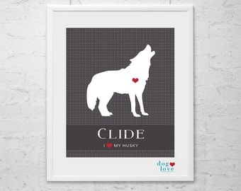 Husky Dog Silhouette - Personalized 8x10 Dog Art Print