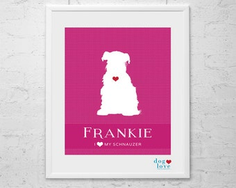 Schnauzer Dog Silhouette - Personalized 8x10 Dog Art Print