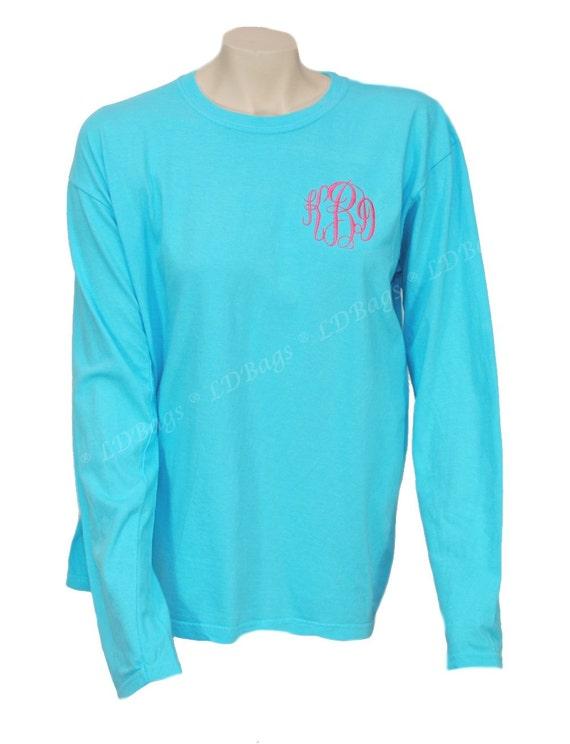Personalized long sleeve ladies comfort colors aqua tee shirt for Aqua blue color t shirt