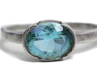 Aquamarine Silver Ring natural Gemstone Jewelry