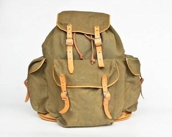 Large Vintage Military Hiking Backpack / Canvas Rucksack /  Leather Straps