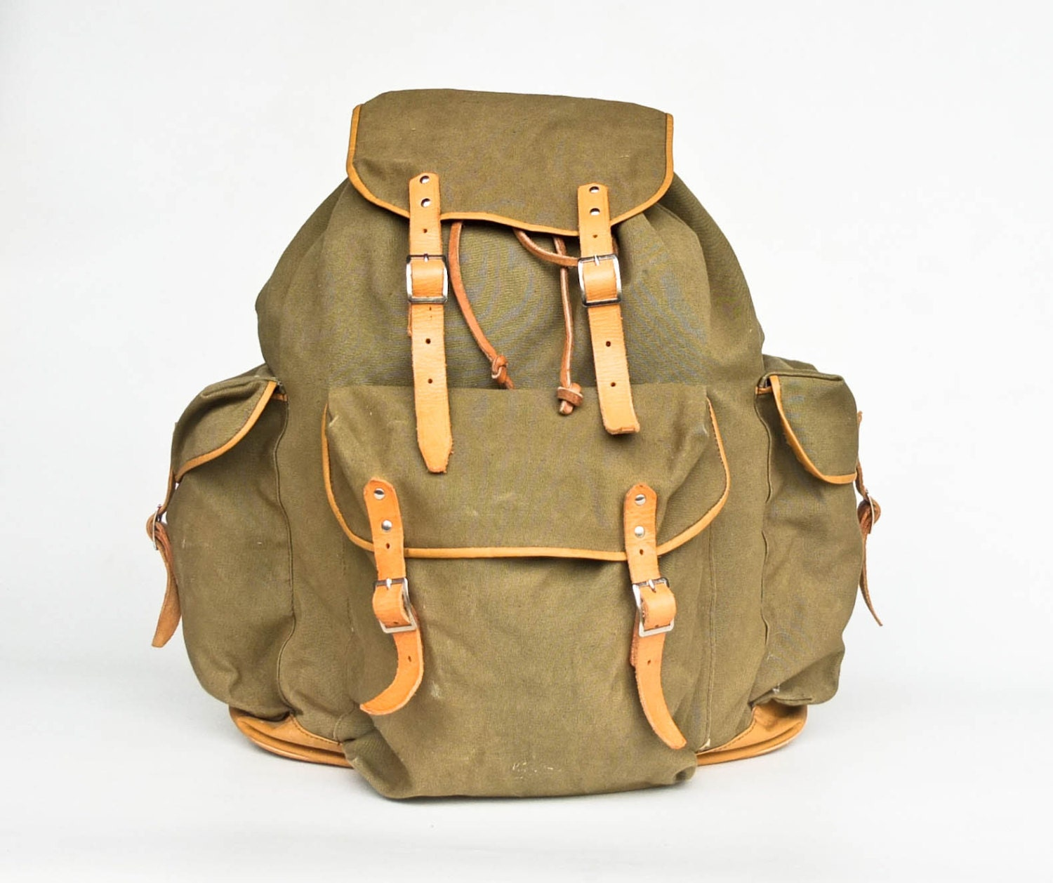 large vintage military hiking backpack canvas rucksack. Black Bedroom Furniture Sets. Home Design Ideas