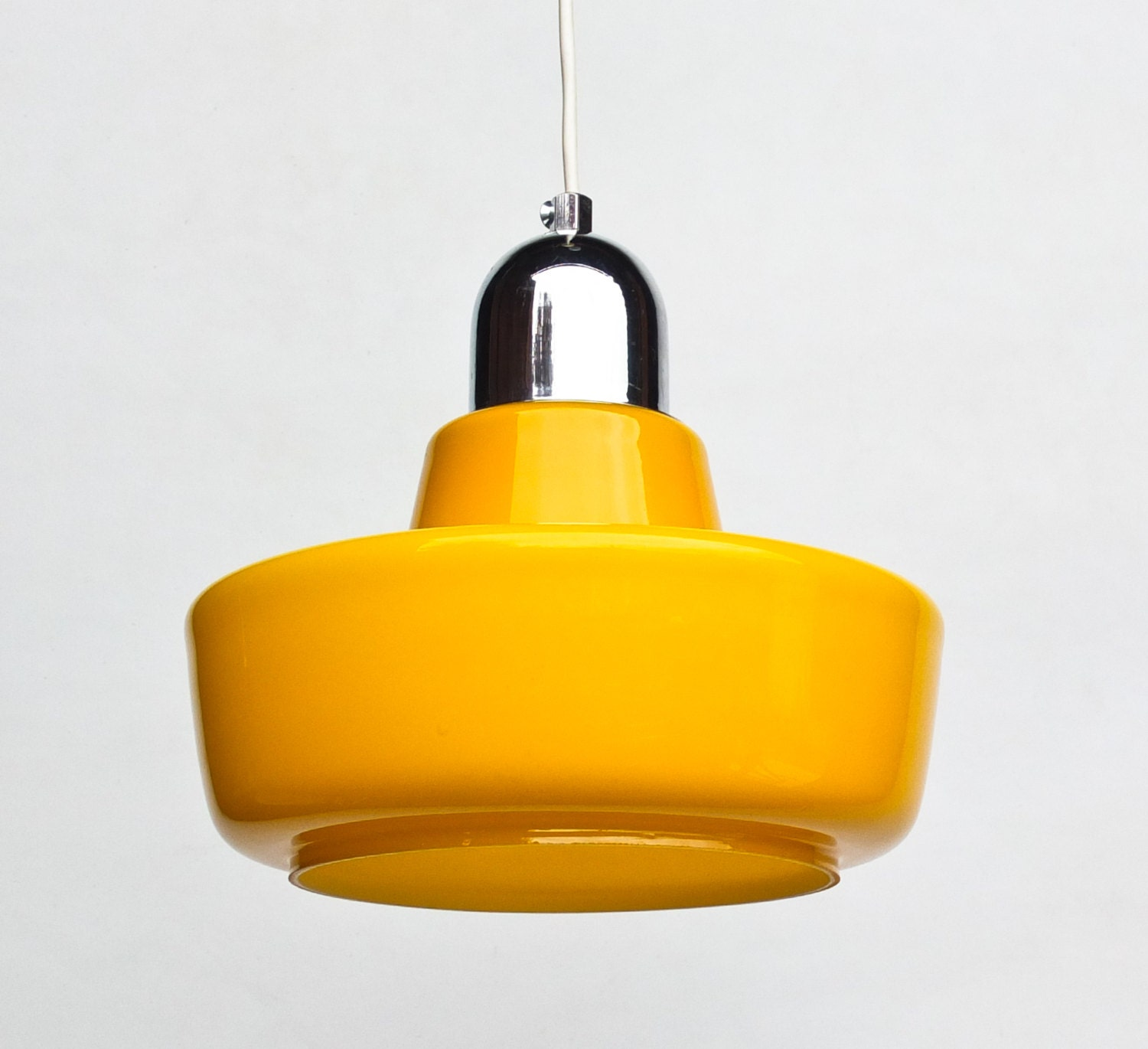Vintage Cased Glass Yellow 70's Ceiling Lamp / Pendant