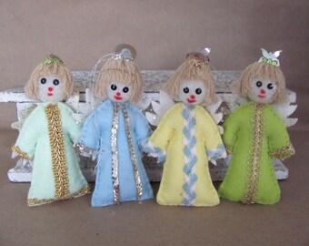 Vintage Christmas Ornaments, 1970's Felt Angel Ornaments, Felt Angels, Vintage Handmade Ornaments, 1970's Christmas Decorations