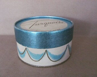 Vintage Dusting Powder Box, Trinket Box, 1960's Turquoise Powder Box, Dorothy Gray, 1960's, Bathroom Decor