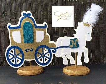 Royal Prince Centerpiece/Blue, Teal and Gold Horse & Carriage Centerpiece/Prince Centerpiece