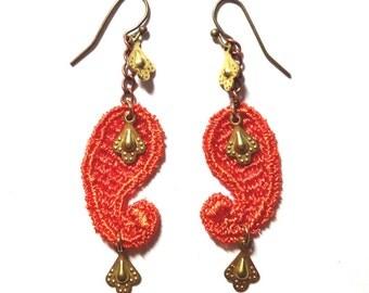 SALE- PAISLEY- Lace Earrings - Tangerine