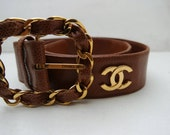 Original Vintage Chanel chunky belt with all over logo