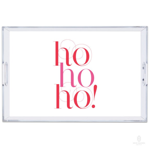 Ho ho ho Lucite Tray with Reversible Insert