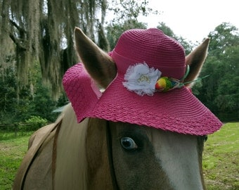 Pink Floppy Brim Hat for Horses - Sun Hat for Horse - Horse Costume