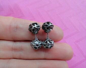 Filigree gunmetal  ball double  sided fake plug earrings