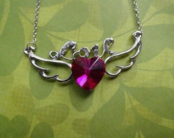 Love pink crystal heart  with wings necklace