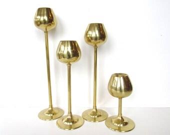 Set of 4 Mid Century Modern Brass Tulip Candlestick Holders, Hollywood Regency Candle Sticks, Golden Centerpiece