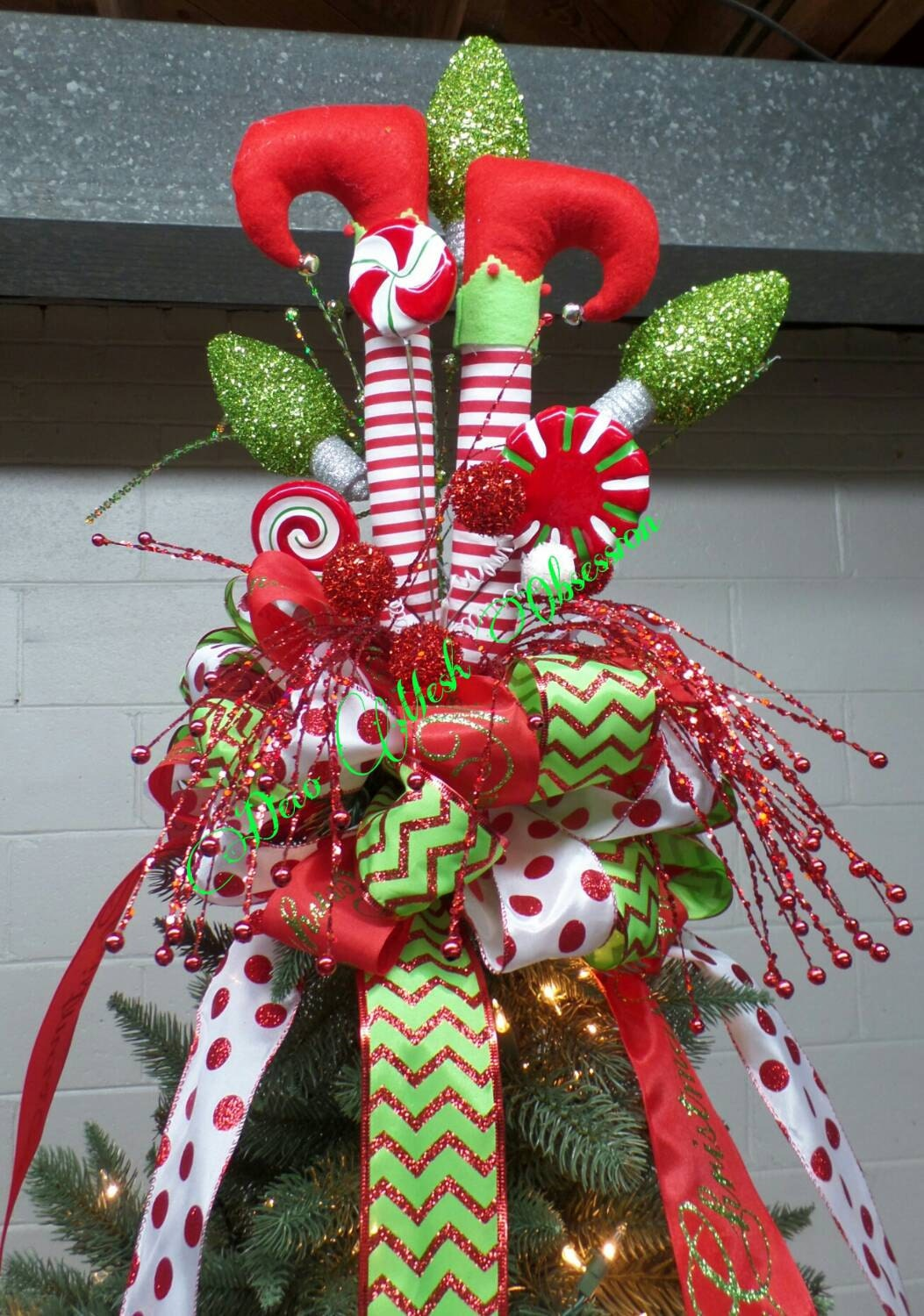 elf legs christmas tree topper ready to ship. Black Bedroom Furniture Sets. Home Design Ideas