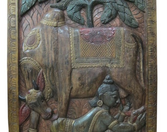 Vintage India Wall Sculpture wood panel art Krishna Playing with His Calf Hand Carved colorful interior design