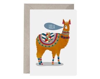 Greeting Card – Hola Llama. Llama Card. Friend Card. Hello Card. Just Because Card. Anything. Blank Cards. Llama Illustration. Funny Cards.