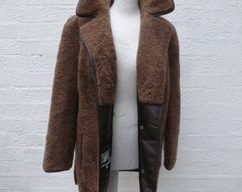 Vintage coat womens wool jacket car coat brown clothing 1960s clothes indie urban English Lady winter jacket leather bound shearling wool.