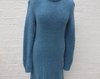 Vintage dress blue clothing 80s knit sweater dress womens winter gift handmade vintage clothing chunky wool clothing urban indie boho jumper