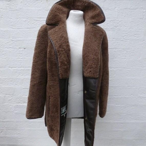 Vintage coat womens wool jacket car coat brown clothing 1960s