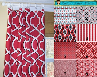 "Red Curtains,Carmine,Damask Curtains,Red Ikat Curtains, Custom Curtains,Pair Drapery Panels, Red Damask,24"" Wide,52"" Wide"