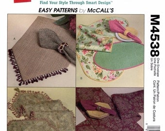 Placemats, Runners & Napkins - Trading Spaces Table Tops - McCall's Sewing Pattern 4538