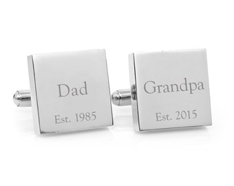 Christmas Gift for Dad - Personalized stainless steel cufflinks - Celebrate the year he became a Dad - handmade in Australia