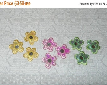 FABRIC SALE Vintage Boho Embroidered Pink Daisy Mirror Applique Lot 9pcs