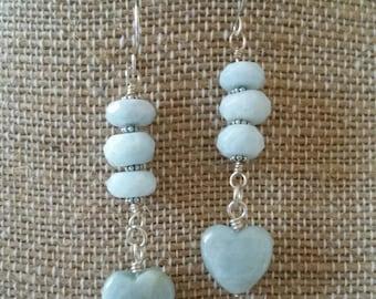 Aquamarine Heart Dangle Earrings in Sterling Silver
