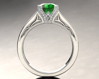 Emerald Engagement Ring Emerald Ring 14k or 18k White Gold Matching Wedding Band Available SW3GBW