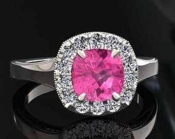 Pink Sapphire Halo Engagement Ring Cushion Cut Pink Sapphire Ring 14k or 18k White Gold Matching Wedding Band Available SW20PKW