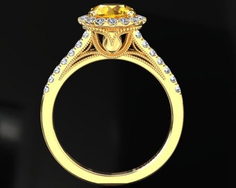Yellow Sapphire Halo Engagement Ring Yellow Sapphire Ring 14k or 18k Yellow Gold Matching Wedding Band Available W9YSY