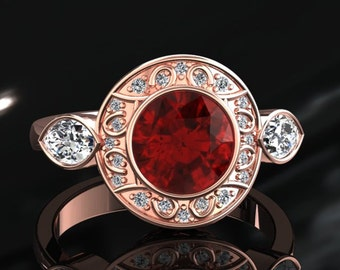 Ruby Engagement Halo Ring Ruby Ring 14k or 18k Rose Gold W19RUBYR