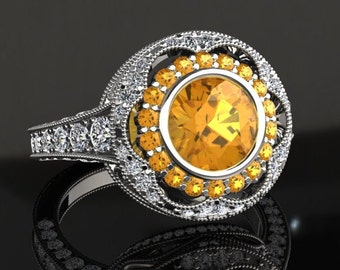 Yellow Sapphire Engagement Ring Yellow Sapphire Ring 14k or 18k White Gold W33YSW