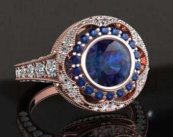 Alexandrite Engagement Ring Alexandrite Ring 14k or 18k Rose Gold W33ALEXR