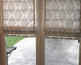 Beautiful Custom Roman Shade, French Door Shades, You Provide The Fabric Of  Your Choice