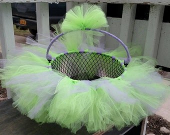 Lime Green Purple TUTU Easter Basket - use as a bow holder, catch all basket. Can be made in any color or pattern. Gender Reveal? Tinkerbell